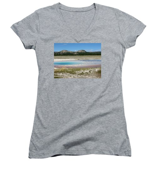 Yellowstone Landscape Women's V-Neck T-Shirt (Junior Cut) by Laurel Powell