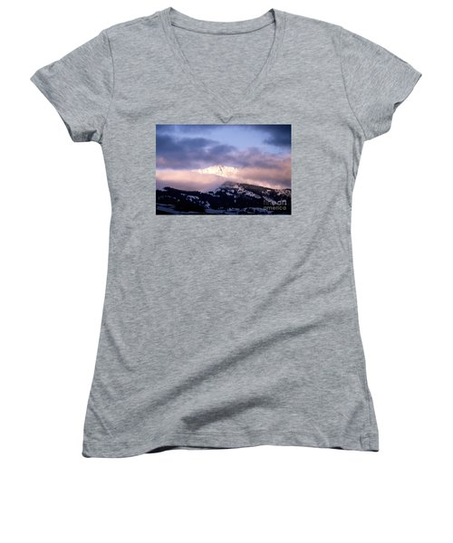Women's V-Neck T-Shirt (Junior Cut) featuring the photograph Yellowstone Morning by Sharon Elliott