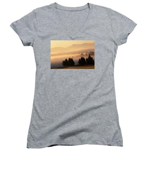 Yellowstone Sunrise Women's V-Neck T-Shirt (Junior Cut) by Steve Archbold