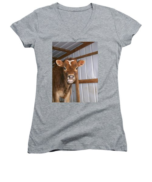 Women's V-Neck T-Shirt (Junior Cut) featuring the photograph Yes I'm Talking To You by Sara  Raber