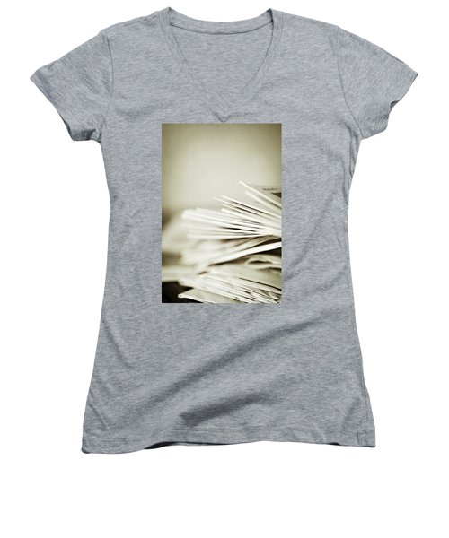 Women's V-Neck T-Shirt (Junior Cut) featuring the photograph Yesterday's News by Trish Mistric