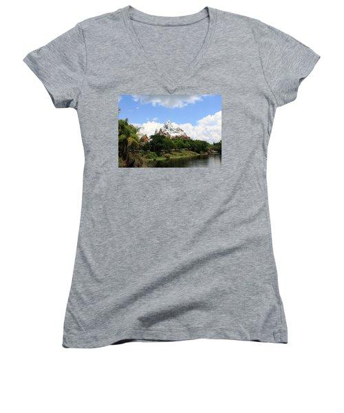 Women's V-Neck T-Shirt (Junior Cut) featuring the photograph Yeti Country by David Nicholls