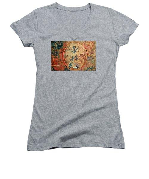 Yin-yang Expressions Women's V-Neck T-Shirt (Junior Cut) by Ed Hall