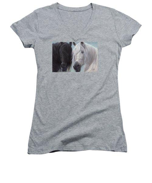 Yin-yang Horses  Women's V-Neck (Athletic Fit)