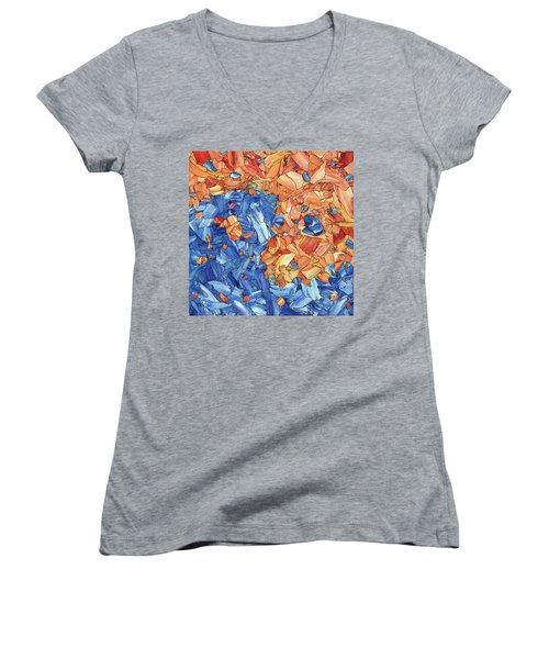 Women's V-Neck T-Shirt (Junior Cut) featuring the painting Yin-yang by James W Johnson