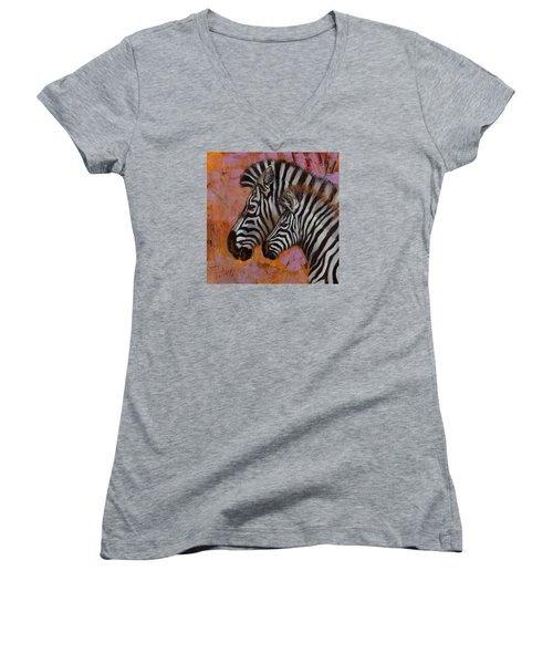 Women's V-Neck T-Shirt (Junior Cut) featuring the painting Yipes Stripes by Pattie Wall
