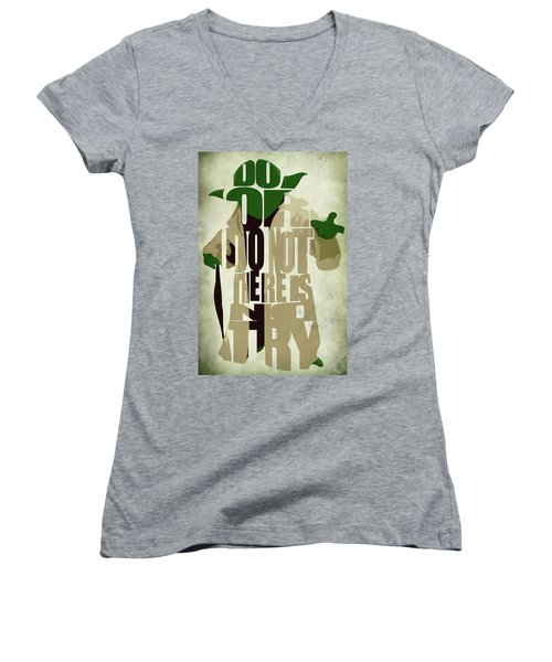 Yoda - Star Wars Women's V-Neck T-Shirt (Junior Cut) by Ayse Deniz