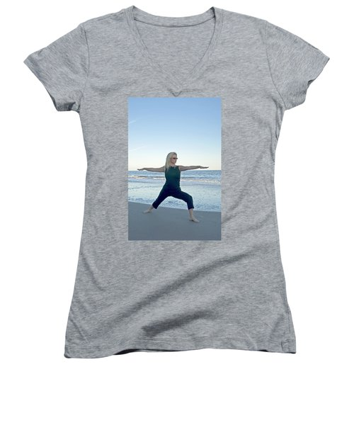 Yoga Woman On The Beach Women's V-Neck (Athletic Fit)