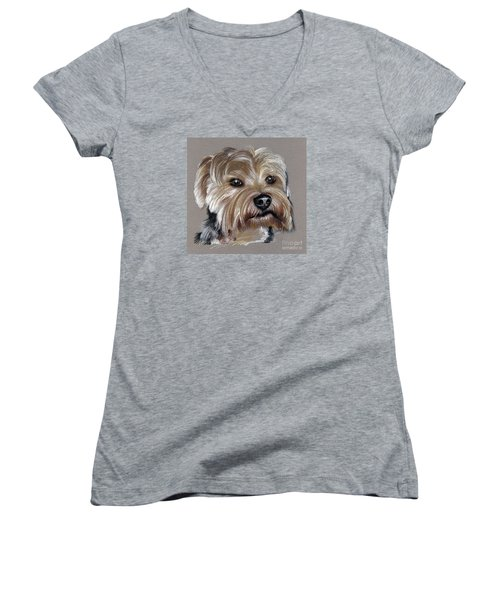 Yorkshire Terrier- Drawing Women's V-Neck (Athletic Fit)