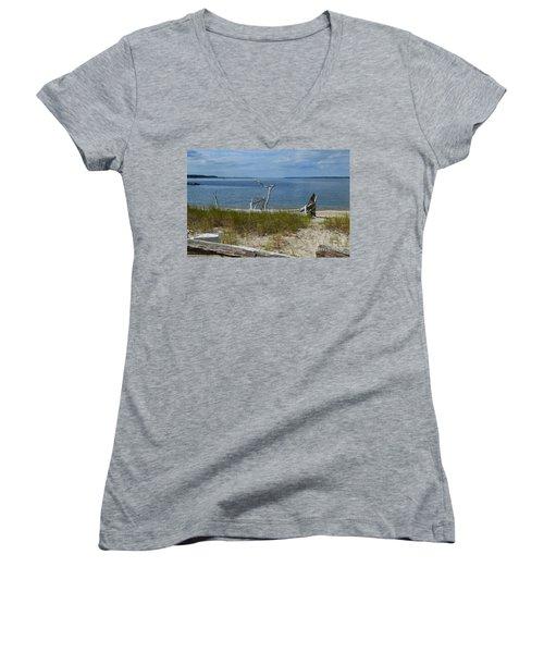 Yorktown Va Beach Women's V-Neck T-Shirt (Junior Cut) by DejaVu Designs