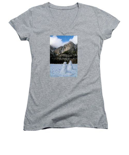 Yosemite Falls Snowmen Women's V-Neck T-Shirt