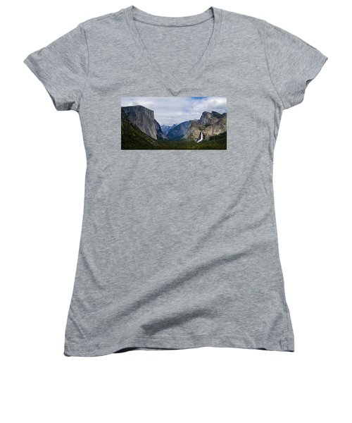 Yosemite Valley Panoramic Women's V-Neck T-Shirt (Junior Cut) by Bill Gallagher