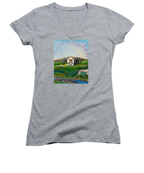 You Are The Temple Of God Women's V-Neck T-Shirt (Junior Cut) by Cassie Sears
