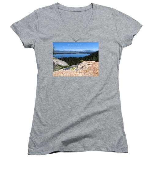 Women's V-Neck T-Shirt featuring the photograph You Can Make It. Inspiration Point by Ausra Huntington nee Paulauskaite