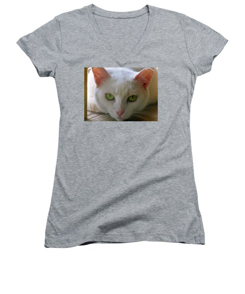 Women's V-Neck T-Shirt (Junior Cut) featuring the photograph You Lookin At Me by Sherman Perry