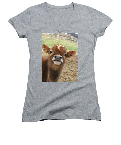 Women's V-Neck T-Shirt (Junior Cut) featuring the photograph You Looking At Me by Sara  Raber
