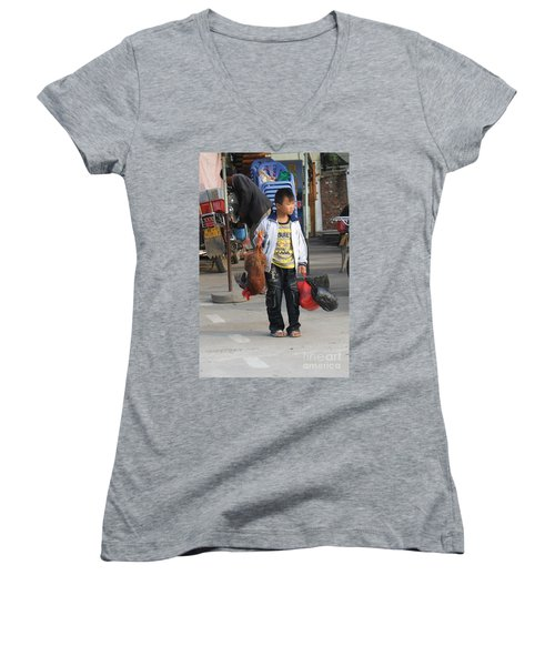 Young Boy Carrying A Dead Chicken To School Women's V-Neck