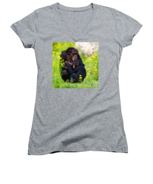 Young Chimpanzee With Adult - II Women's V-Neck (Athletic Fit)