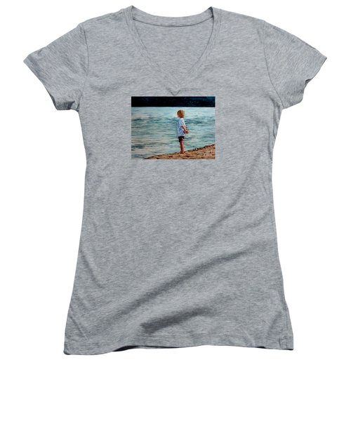 Young Lad By The Shore Women's V-Neck