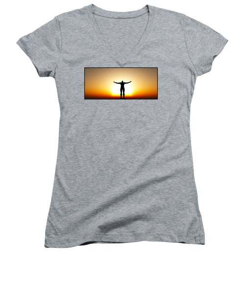 Your Will Be Done... Women's V-Neck T-Shirt (Junior Cut) by Tim Fillingim