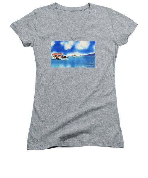 Yubu Island-water Buffalo Taxi  Women's V-Neck