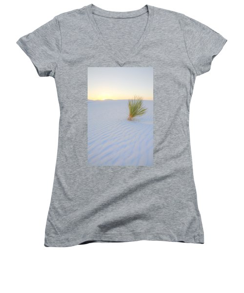 Women's V-Neck T-Shirt (Junior Cut) featuring the photograph Yucca Plant At White Sands by Alan Vance Ley