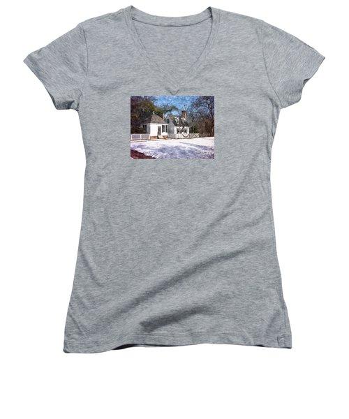 Yule Cottage Women's V-Neck T-Shirt (Junior Cut) by Shari Nees