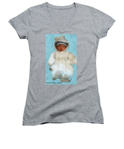 Women's V-Neck T-Shirt (Junior Cut) featuring the painting Zachary by Bruce Nutting