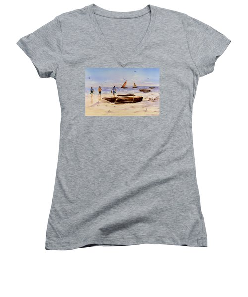 Zanzibar Forzani Beach Women's V-Neck T-Shirt