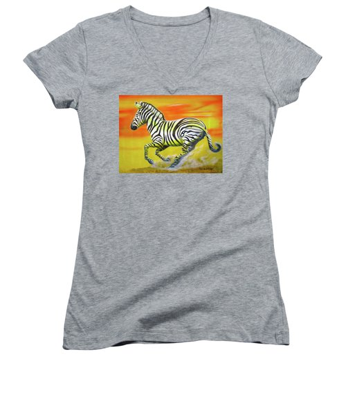 Zebra Kicking Up Dust Women's V-Neck