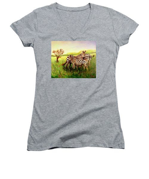 Zebras At Ngorongoro Crater Women's V-Neck T-Shirt