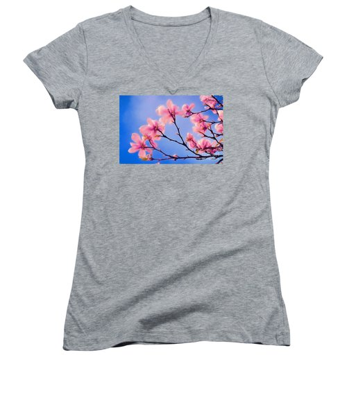 Cherry Blossums In Digital Watercolor Women's V-Neck (Athletic Fit)