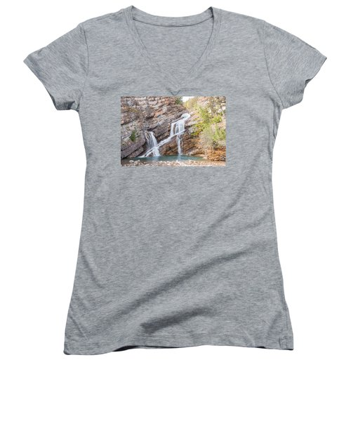 Women's V-Neck T-Shirt (Junior Cut) featuring the photograph Zigzag Waterfall by John M Bailey