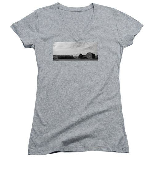 Zink Rd Farm 2 In Black And White Women's V-Neck (Athletic Fit)