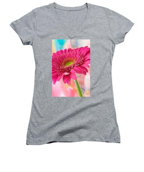 Gerbera Daisy Abstract Women's V-Neck T-Shirt