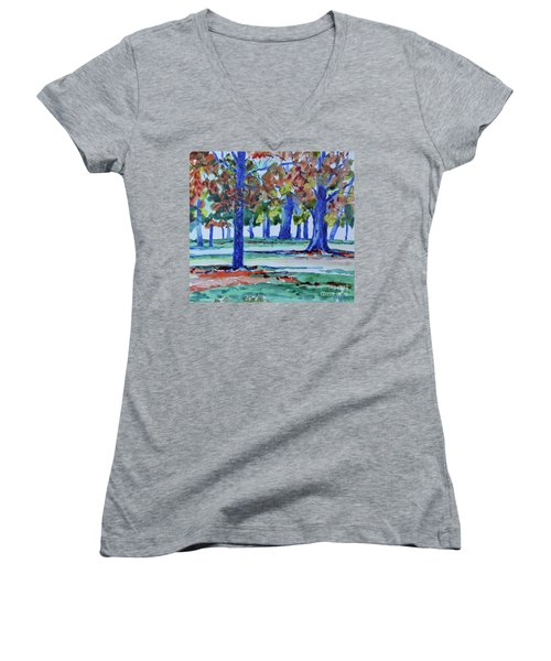 Fall In My Backyard Women's V-Neck (Athletic Fit)