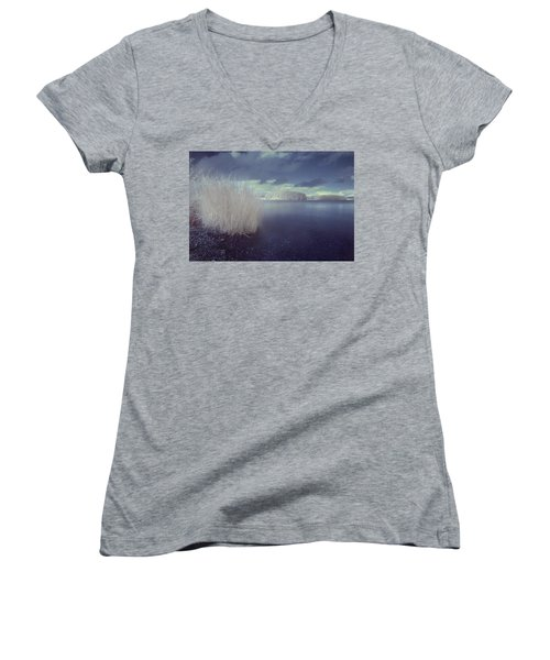Women's V-Neck T-Shirt (Junior Cut) featuring the photograph  Infrared At Llyn Brenig by Beverly Cash