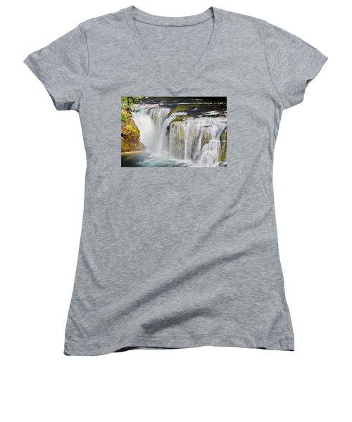 Lower Falls On The Upper Lewis River Women's V-Neck T-Shirt