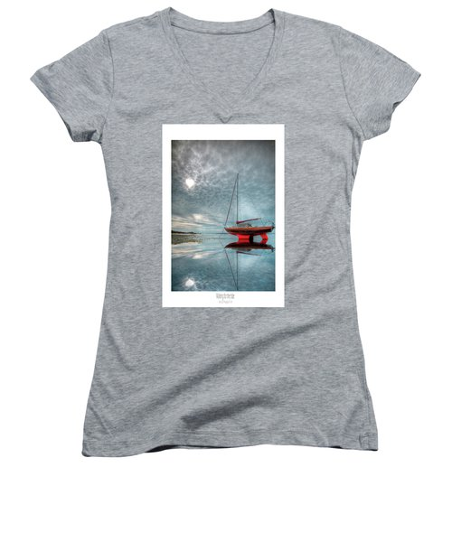 Women's V-Neck T-Shirt (Junior Cut) featuring the photograph  Waiting For The Tide by Beverly Cash
