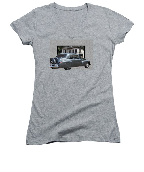 1947 Lincoln Continental Coupe Women's V-Neck T-Shirt (Junior Cut) by Betty Northcutt