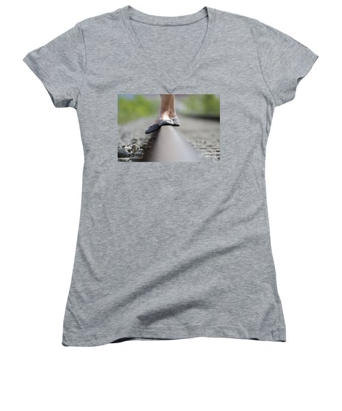 Balance On Railroad Tracks Women's V-Neck