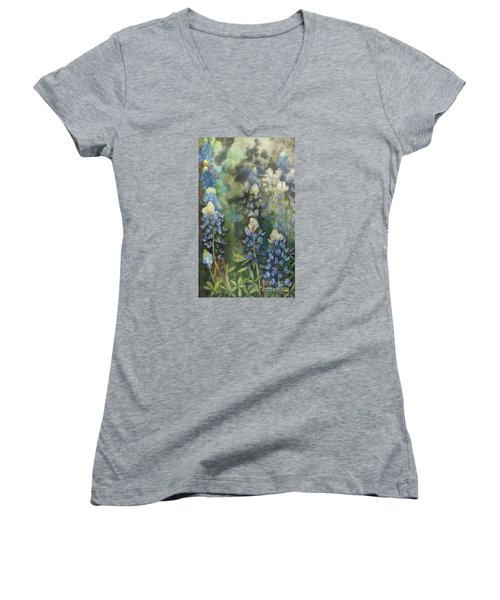 Women's V-Neck T-Shirt (Junior Cut) featuring the painting Bluebonnet Blessing by Karen Kennedy Chatham