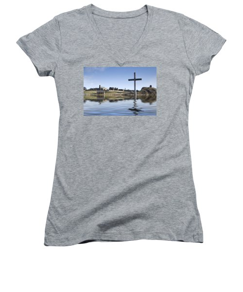 Cross In Water, Bewick, England Women's V-Neck T-Shirt