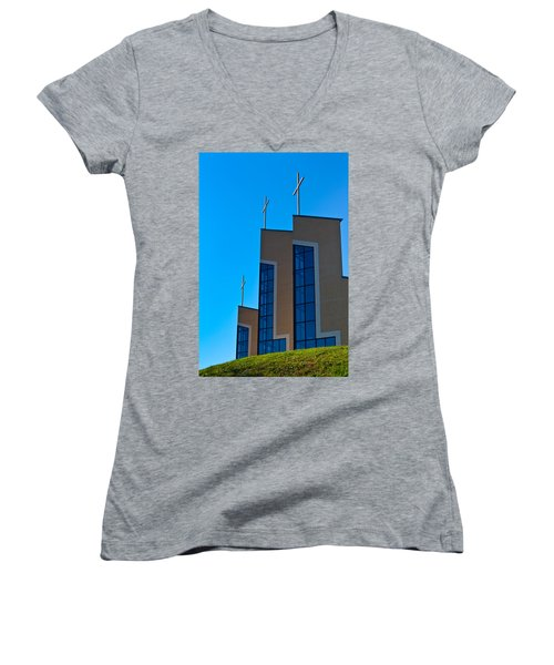 Women's V-Neck T-Shirt (Junior Cut) featuring the photograph Crosses Of Livingway Church by Ed Gleichman