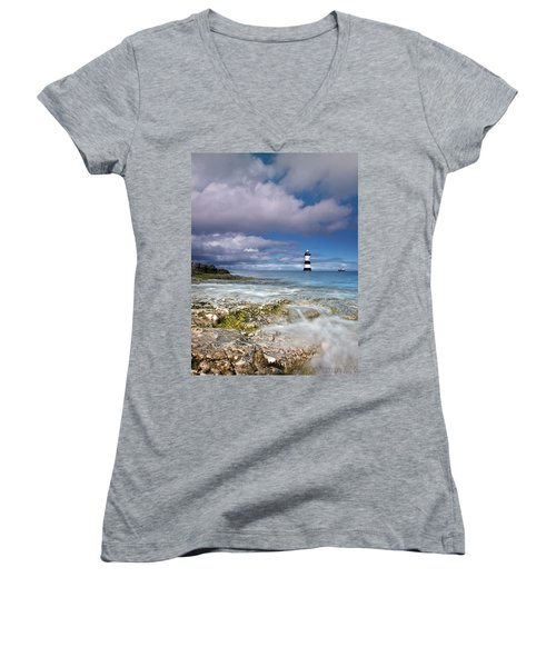 Women's V-Neck T-Shirt (Junior Cut) featuring the photograph Fishing By The Lighthouse by Beverly Cash