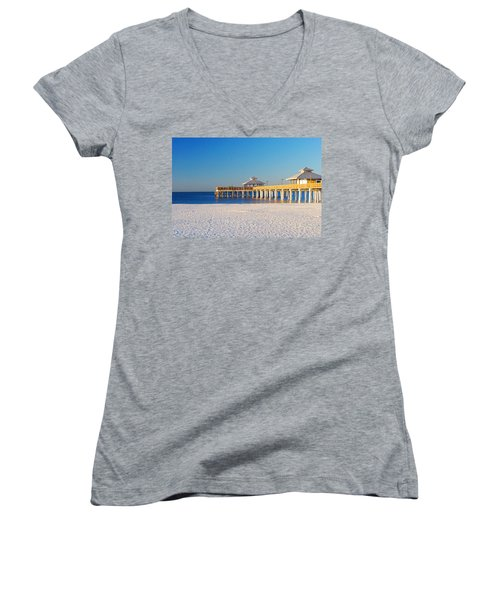 Fort Myers Beach Pier Women's V-Neck (Athletic Fit)