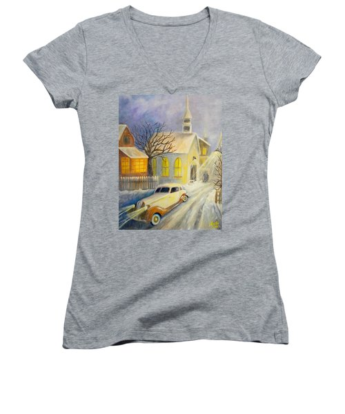 Going Home Women's V-Neck T-Shirt (Junior Cut) by Renate Nadi Wesley
