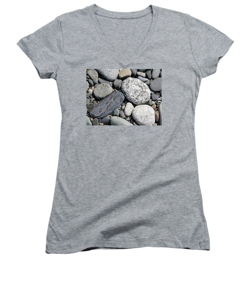 Women's V-Neck T-Shirt (Junior Cut) featuring the photograph Healing Stones by Cathie Douglas