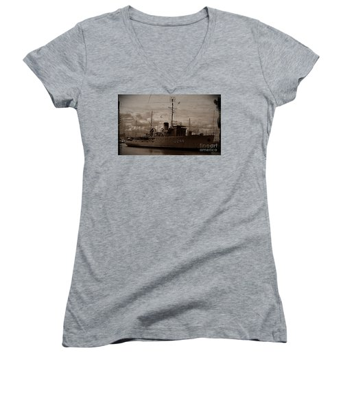 Women's V-Neck T-Shirt (Junior Cut) featuring the photograph Hmas Castlemaine 2 by Blair Stuart