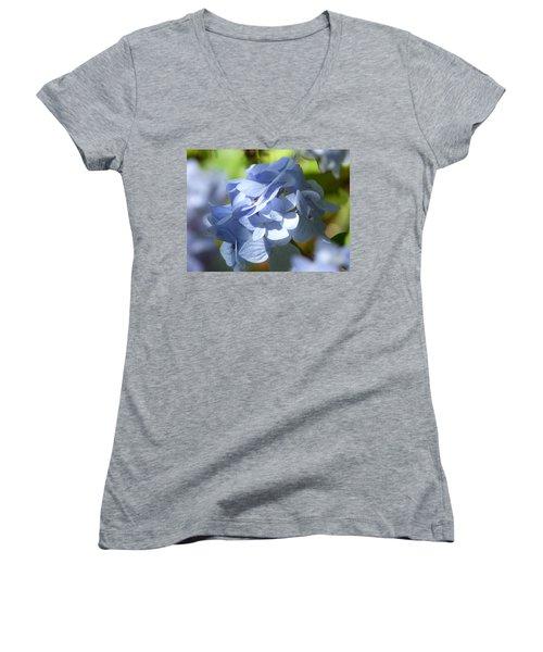 Women's V-Neck T-Shirt (Junior Cut) featuring the photograph Hydrangea by Lynn Bolt